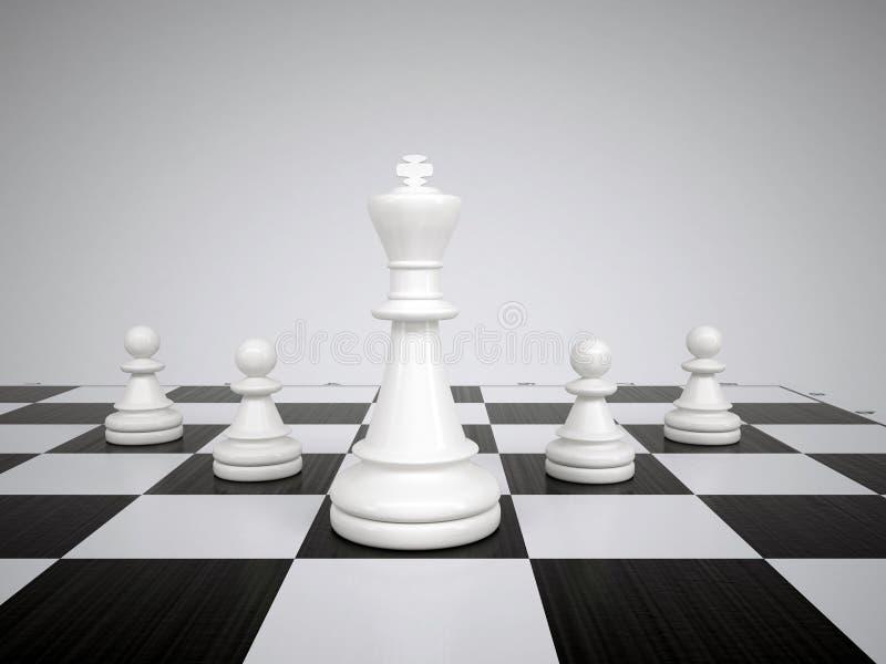 Λευκοί βασιλιάς και ενέχυρα σκακιού στοκ εικόνα με δικαίωμα ελεύθερης χρήσης