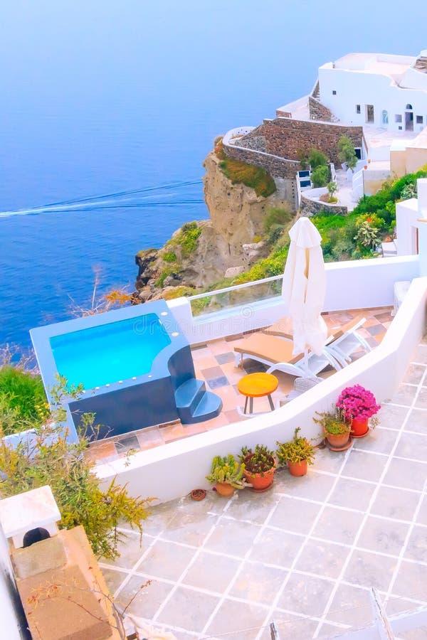 Λευκοί οίκοι, Νήσος Σαντορίνη στην Ελλάδα στοκ εικόνα με δικαίωμα ελεύθερης χρήσης