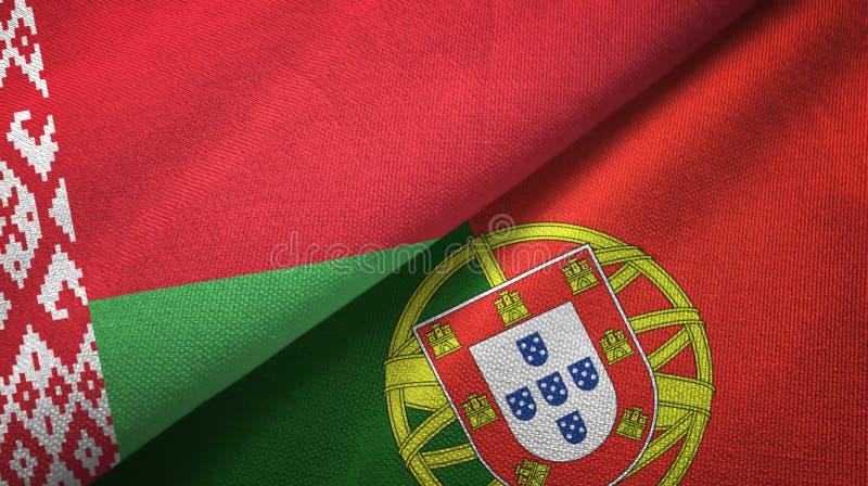 Λευκορωσία και Πορτογαλία δύο υφαντικό ύφασμα σημαιών, σύσταση υφάσματος ελεύθερη απεικόνιση δικαιώματος