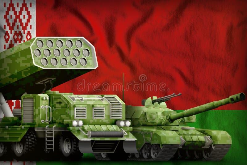 Λευκορωσική βαριά στρατιωτική έννοια τεθωρακισμένων οχημάτων στο υπόβαθρο εθνικών σημαιών τρισδιάστατη απεικόνιση διανυσματική απεικόνιση