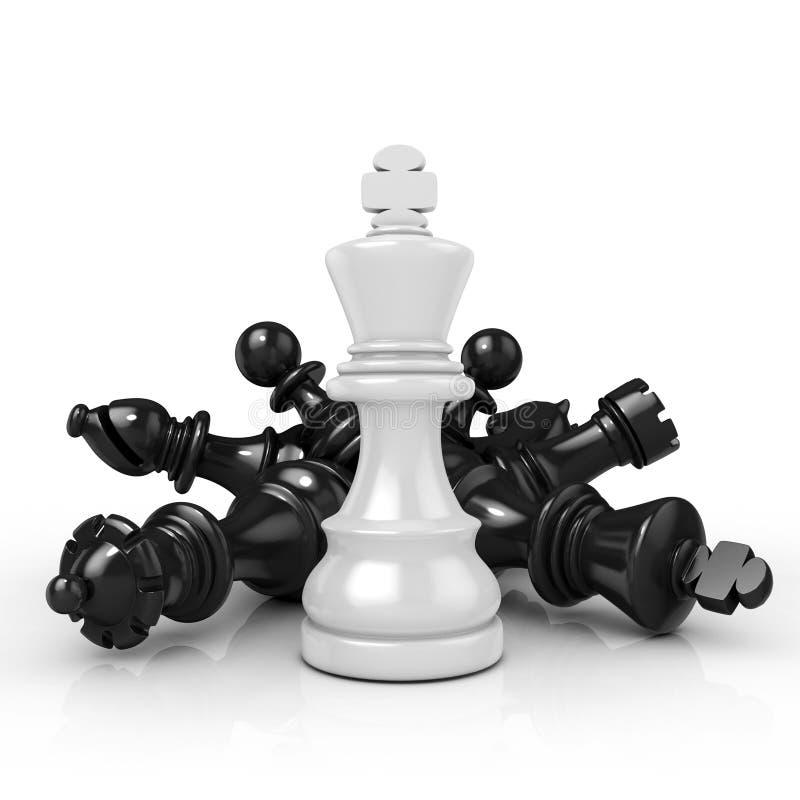 Λευκός βασιλιάς που στέκεται πέρα από τα πεσμένα μαύρα κομμάτια σκακιού διανυσματική απεικόνιση