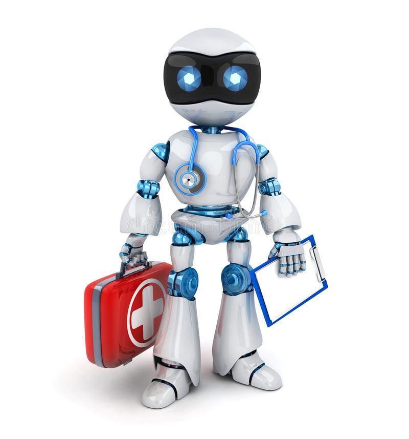 Λευκός γιατρός ρομπότ και κόκκινη περίπτωση, στηθοσκόπιο διανυσματική απεικόνιση