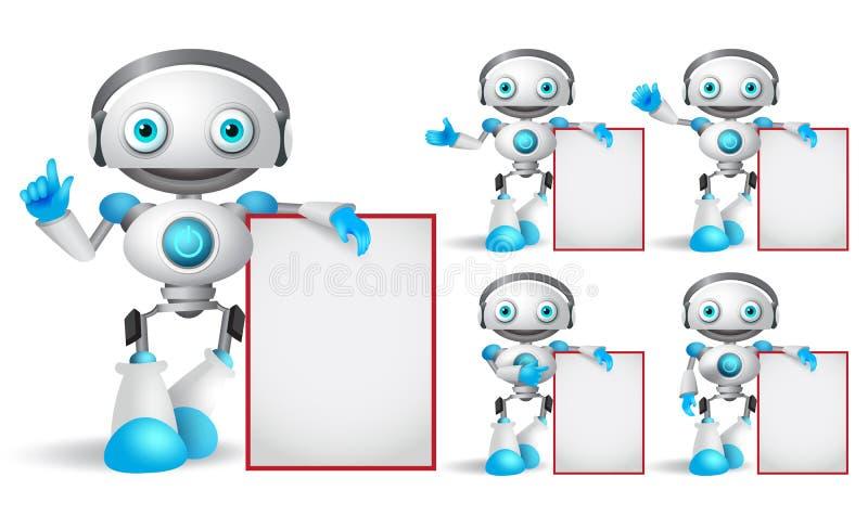Λευκός διανυσματικός χαρακτήρας ρομπότ - καθορισμένη στάση κρατώντας τον κενό λευκό πίνακα ελεύθερη απεικόνιση δικαιώματος