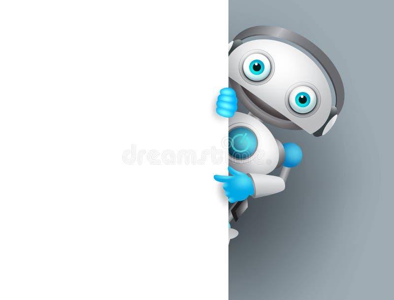 Λευκός διανυσματικός χαρακτήρας ρομπότ που κρατά τον κενό λευκό πίνακα για την παρουσίαση ελεύθερη απεικόνιση δικαιώματος