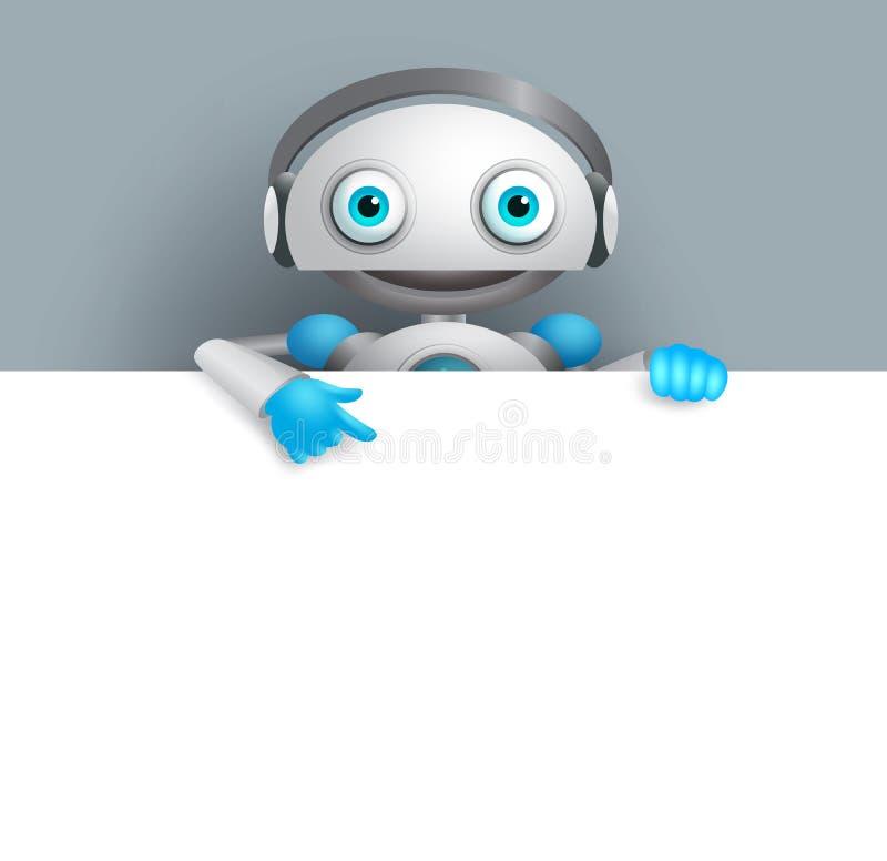 Λευκός διανυσματικός χαρακτήρας ρομπότ που παρουσιάζει κενό λευκό πίνακα για το κείμενο ελεύθερη απεικόνιση δικαιώματος