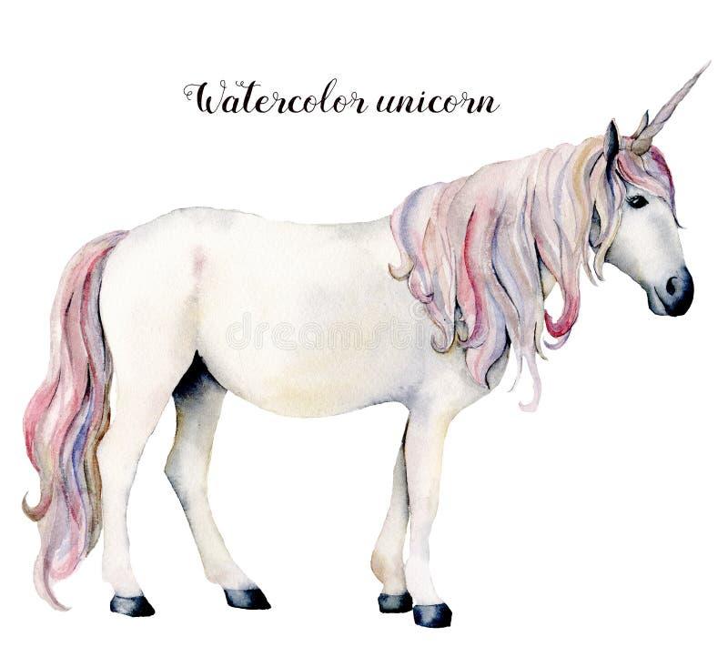 Λευκός μονόκερος Watercolor Το χέρι χρωμάτισε το μαγικό άλογο που απομονώθηκε στο άσπρο υπόβαθρο Σχέδιο απεικόνισης χαρακτήρα παρ ελεύθερη απεικόνιση δικαιώματος