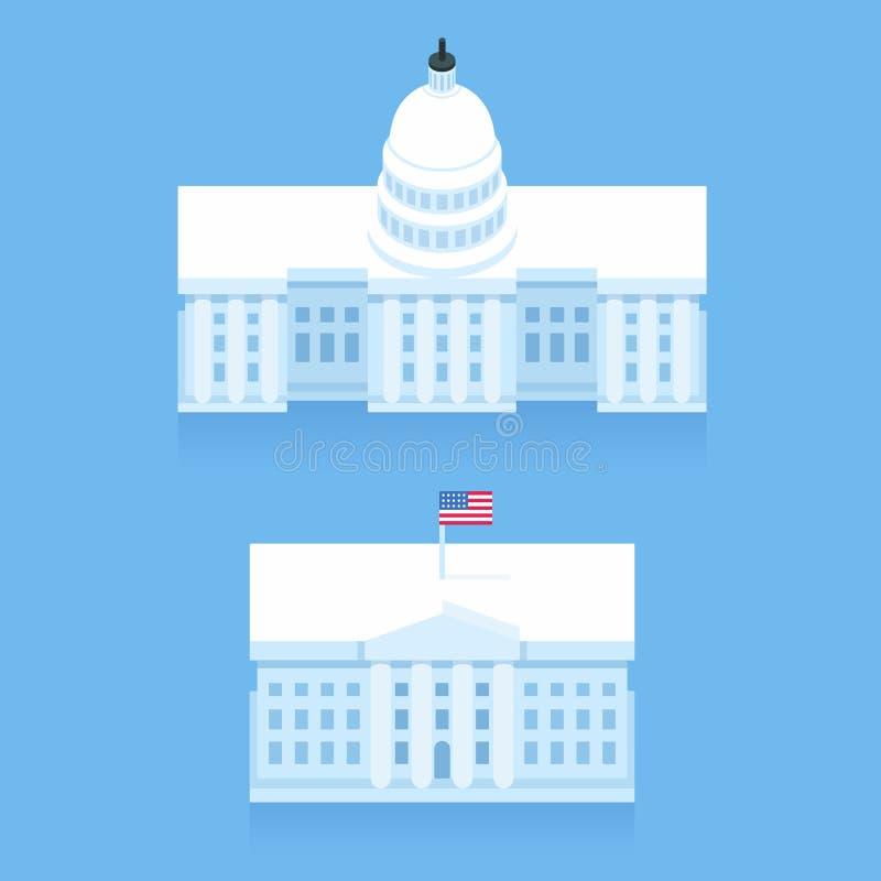 Λευκός Οίκος και κτήριο Capitol διανυσματική απεικόνιση