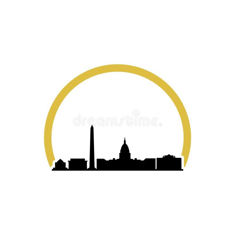 Λευκός Οίκος Ουάσιγκτον DC, λογότυπο απεικόνισης οικοδόμησης Capitol διανυσματική απεικόνιση