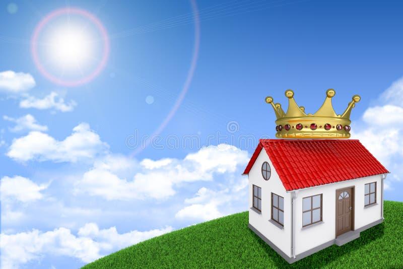 Λευκός Οίκος στον πράσινο χλοώδη λόφο με την κόκκινη στέγη στοκ φωτογραφία με δικαίωμα ελεύθερης χρήσης