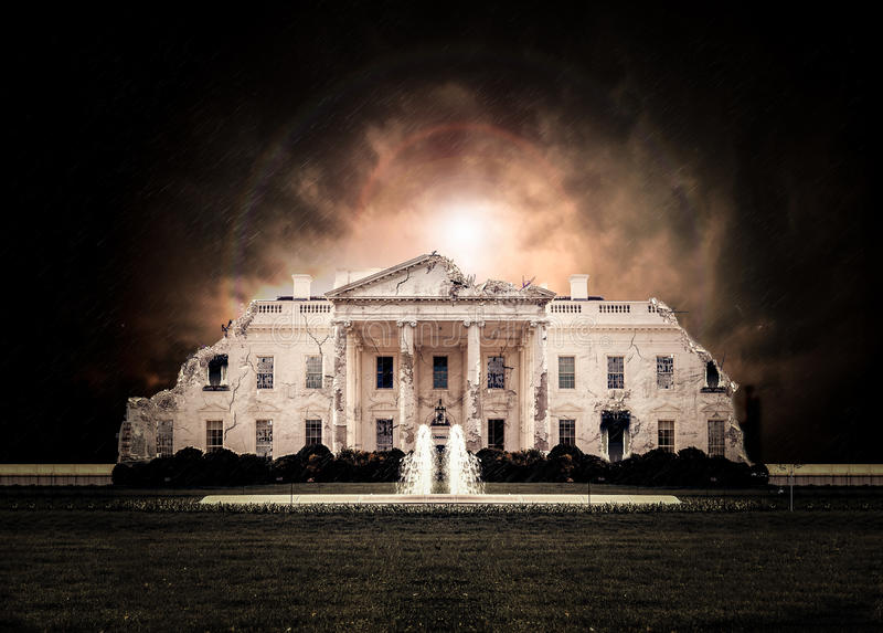 Λευκός Οίκος της Ουάσιγκτον που καταστρέφεται στοκ φωτογραφία