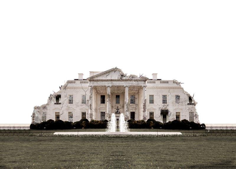 Λευκός Οίκος της Ουάσιγκτον που καταστρέφεται στοκ εικόνα