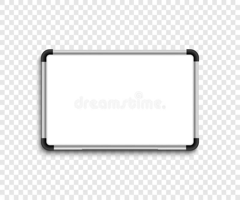 Λευκός πίνακας δεικτών whiteboard Λευκός πίνακας με τη σκιά στο διαφανές backgound διανυσματική απεικόνιση