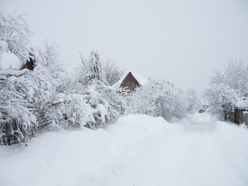 Λευκός σαν το χιόνι δρόμος στο χωριό στοκ εικόνες με δικαίωμα ελεύθερης χρήσης