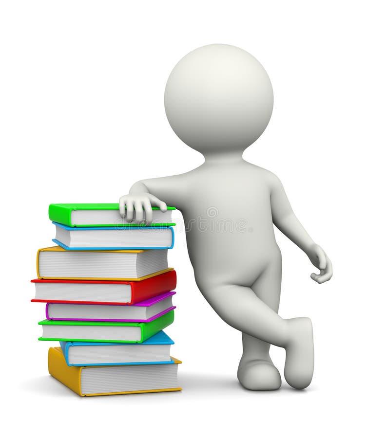 Λευκός τρισδιάστατος χαρακτήρας που κλίνεται σε έναν σωρό των βιβλίων ελεύθερη απεικόνιση δικαιώματος
