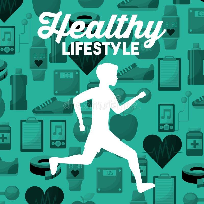 Λευκό άτομο σκιαγραφιών που τρέχει το υγιές υπόβαθρο αθλητικών εικονιδίων τρόπου ζωής διανυσματική απεικόνιση