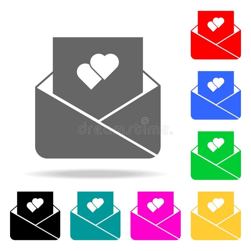 λευκό αγάπης επιστολών απεικόνισης εικονιδίων ανασκόπησης Στοιχεία του ειδυλλίου στα πολυ χρωματισμένα εικονίδια Γραφικό εικονίδι διανυσματική απεικόνιση