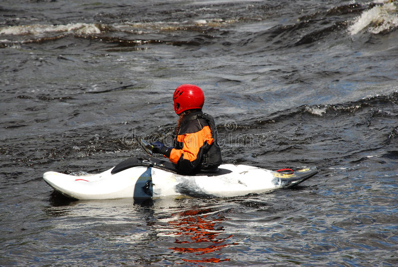 λευκό βαρκών kayaker στοκ φωτογραφίες