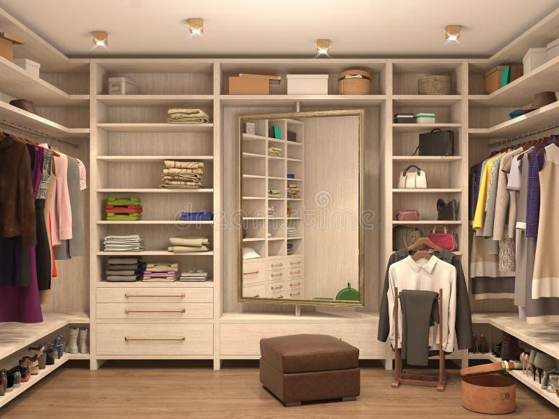 Λευκό, βεστιάριο, εσωτερικό ενός σύγχρονου σπιτιού διανυσματική απεικόνιση