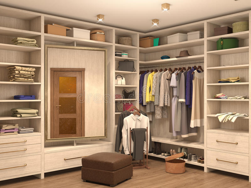 Λευκό, βεστιάριο, εσωτερικό ενός σύγχρονου σπιτιού απεικόνιση αποθεμάτων