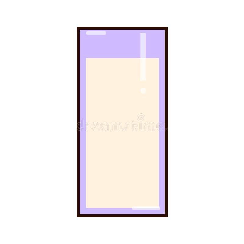 λευκό γάλακτος γυαλιού σιτηρέσιο υγιεινό Καθαρή κατανάλωση Ψηλό πρόγευμα γυαλιού, πρωτεΐνη - πλούσιο γαλακτοκομικό προϊόν Επίπεδη απεικόνιση αποθεμάτων