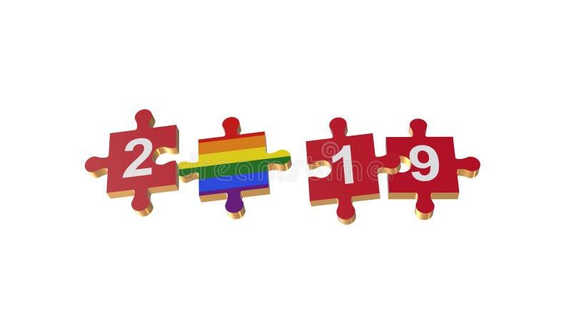 Λευκό για το γρίφο στη σημαία LGBT για τα νέα έτη 2019 απεικόνιση αποθεμάτων