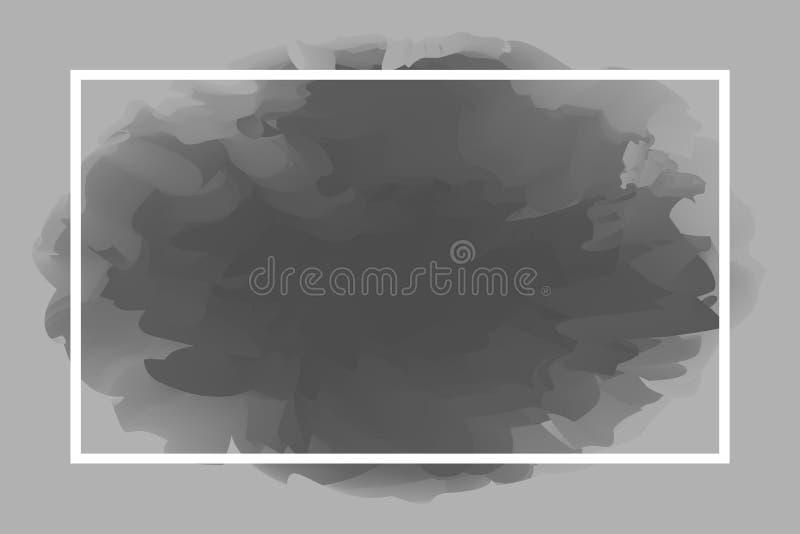 Λευκό γραμμών ορθογωνίων στο αφηρημένο γκρίζο μαλακό υπόβαθρο, κενό πλαίσιο στο γκρίζο πρότυπο τέχνης υδατοχρώματος και διάστημα  διανυσματική απεικόνιση