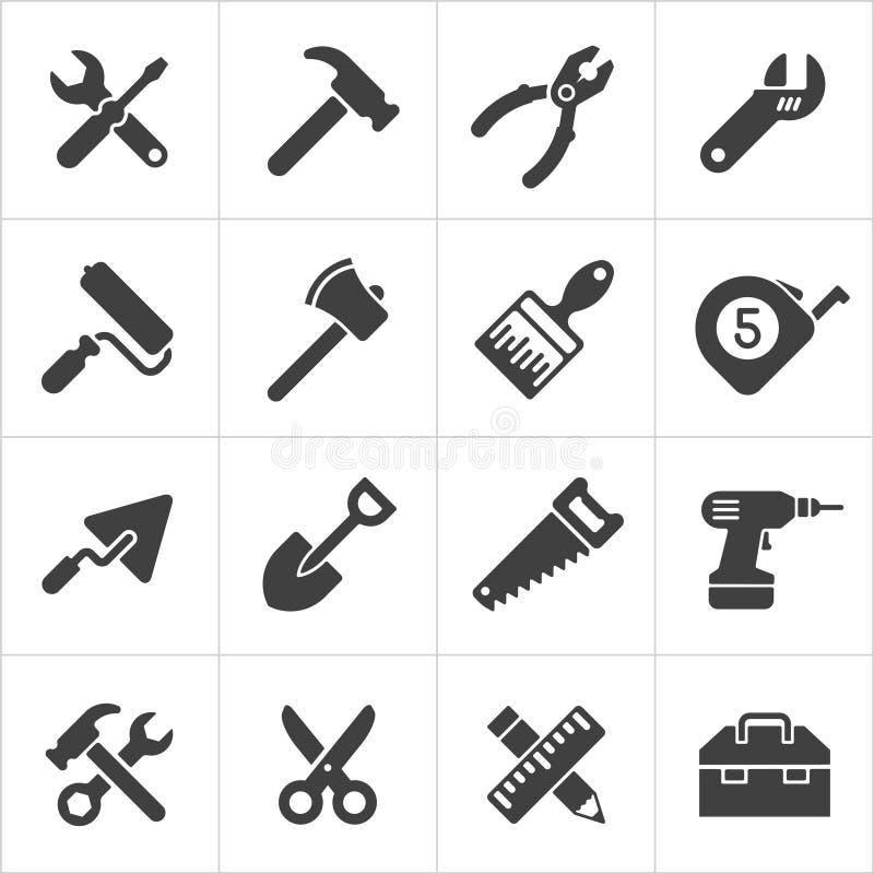 Λευκό εικονιδίων εργαλείων εργασίας και οργάνων διάνυσμα διανυσματική απεικόνιση