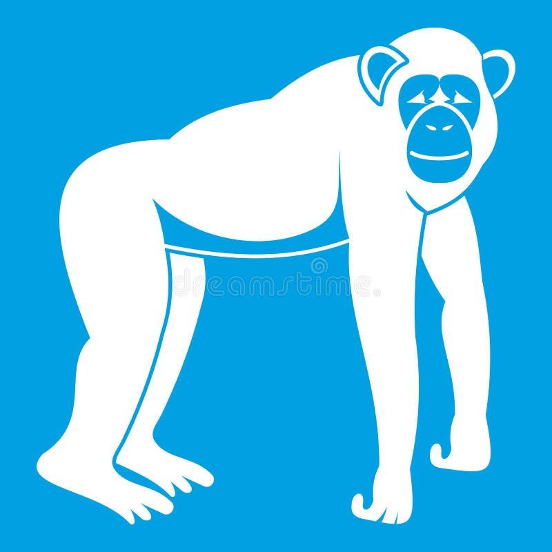 Λευκό εικονιδίων χιμπατζών απεικόνιση αποθεμάτων