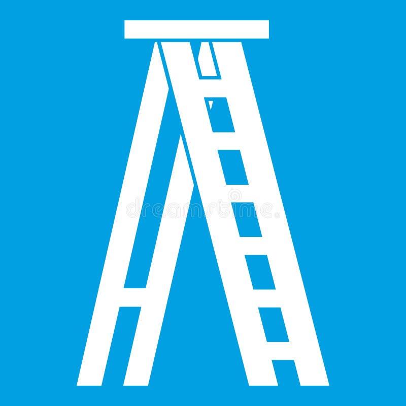 Λευκό εικονιδίων Stepladder ελεύθερη απεικόνιση δικαιώματος