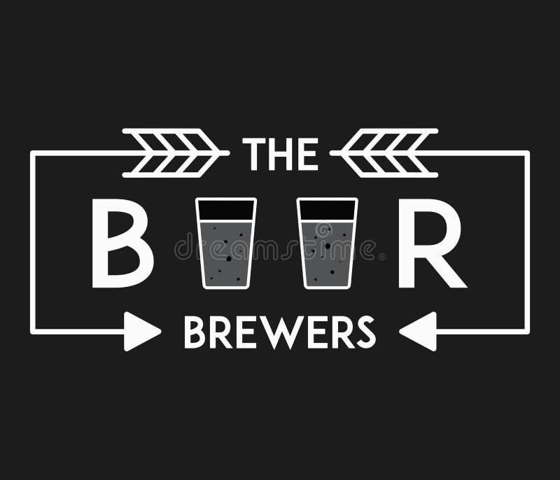 Λευκό ζυθοποιών ασφαλίστρου μπύρας στο Μαύρο απεικόνιση αποθεμάτων