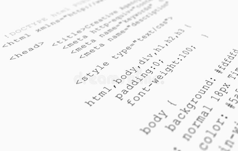 λευκό ιστοχώρου όψης HTML κώδικα ξεφυλλιστή ανασκόπησης στοκ εικόνες με δικαίωμα ελεύθερης χρήσης