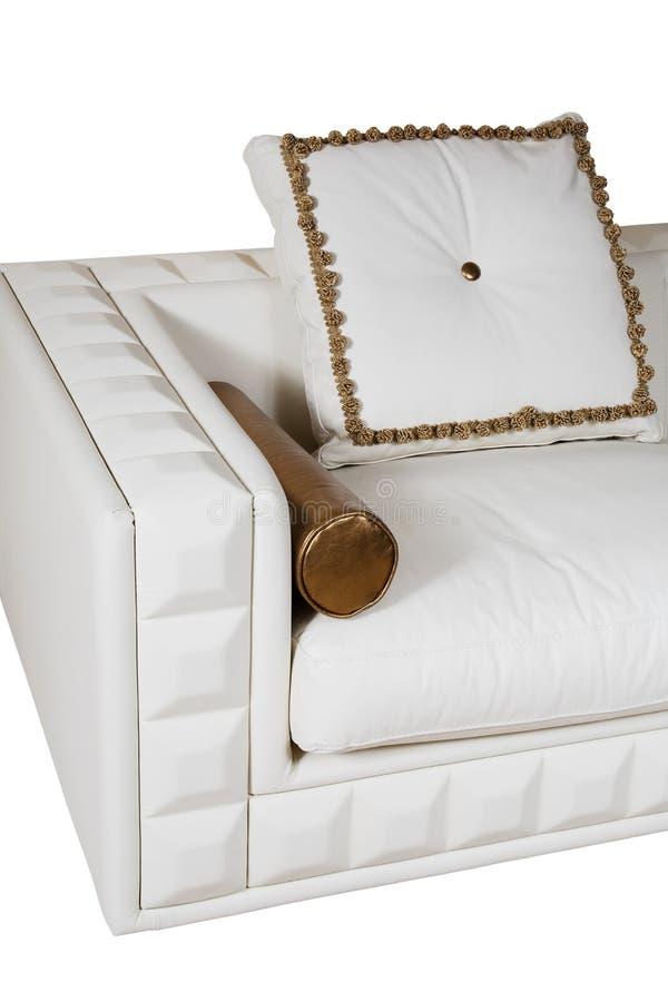 λευκό καναπέδων δέρματος στοκ φωτογραφία με δικαίωμα ελεύθερης χρήσης