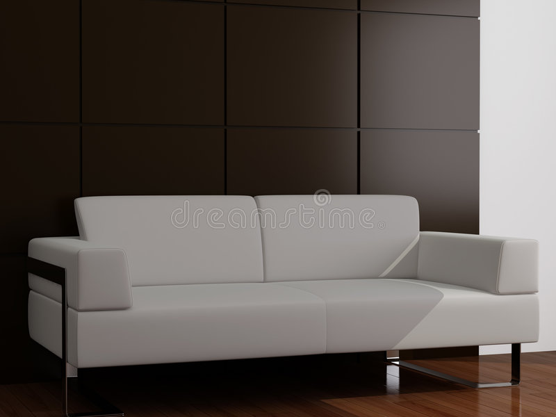 λευκό καναπέδων σαλονιού ελεύθερη απεικόνιση δικαιώματος