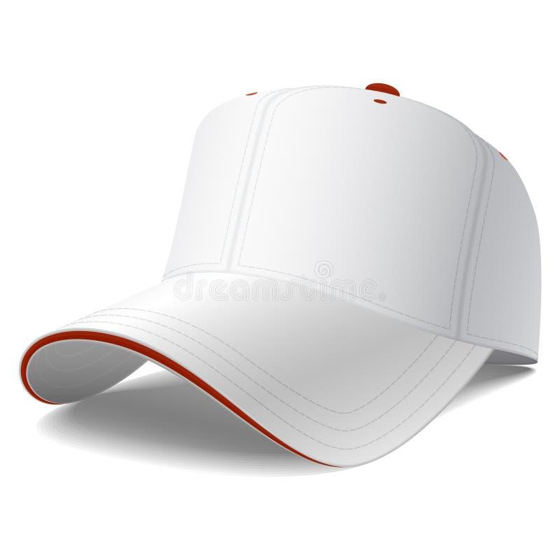 λευκό καπέλων του μπέιζμπ&om απεικόνιση αποθεμάτων
