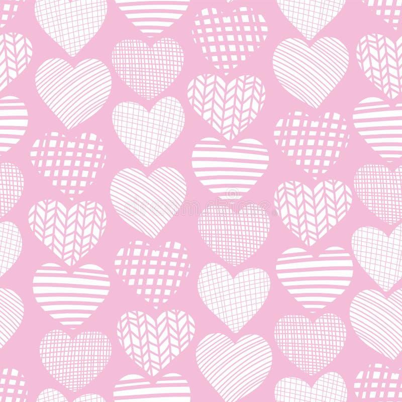 Λευκό καρδιών στο ρόδινο συρμένο χέρι άνευ ραφής διανυσματικό σχέδιο Άσπρες μορφές καρδιών στο ρόδινο υπόβαθρο Κατασκευασμένο σκη απεικόνιση αποθεμάτων