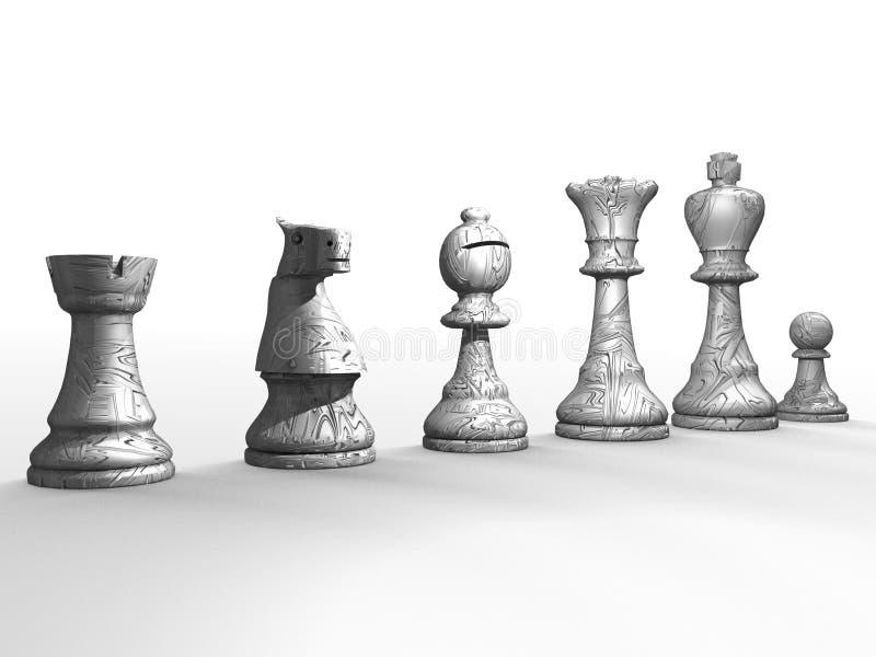 λευκό κομματιών σκακιού διανυσματική απεικόνιση