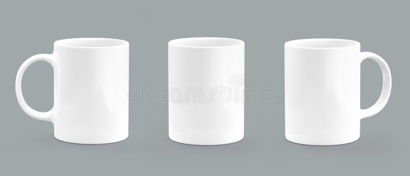 Λευκό κουπών καφέ στο γκρίζο υπόβαθρο Κενό πρότυπο κουπών απεικόνιση αποθεμάτων