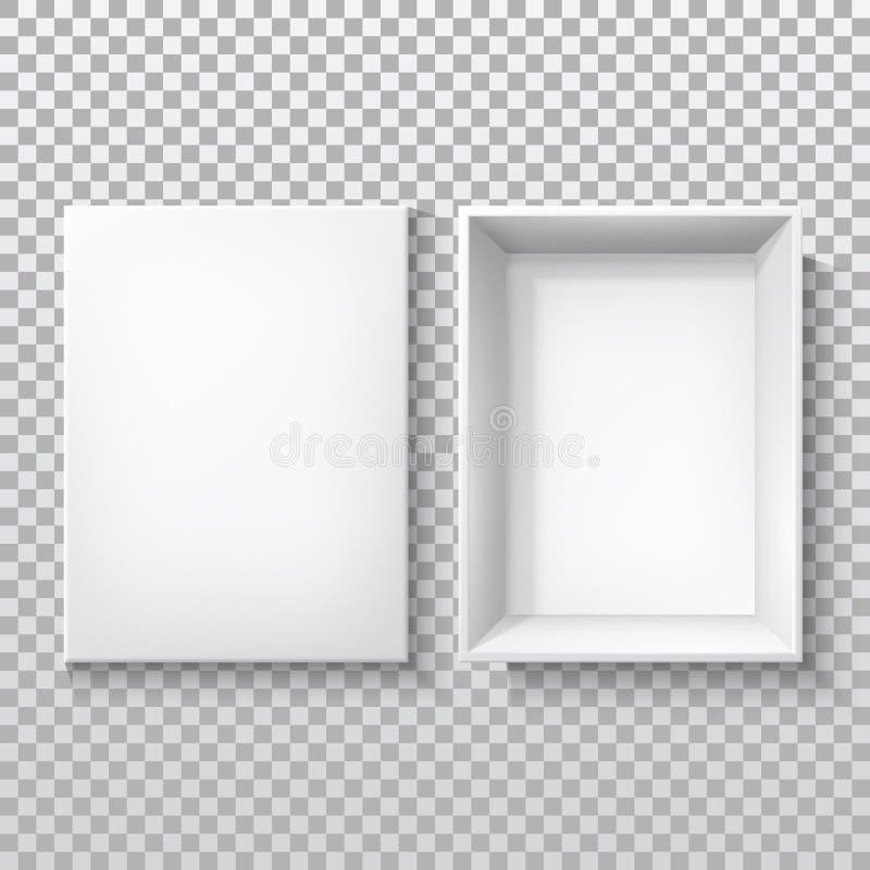 Λευκό κουτί με ανοιχτό κάλυμμα, χαρτόνι συσκευασία 3D διανυσματική απεικόνιση