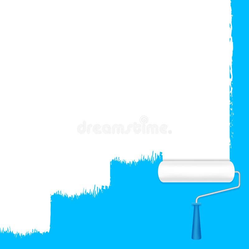 Λευκό κυλίνδρων χρωμάτων στον μπλε τοίχο για το υπόβαθρο εμβλημάτων κ διανυσματική απεικόνιση