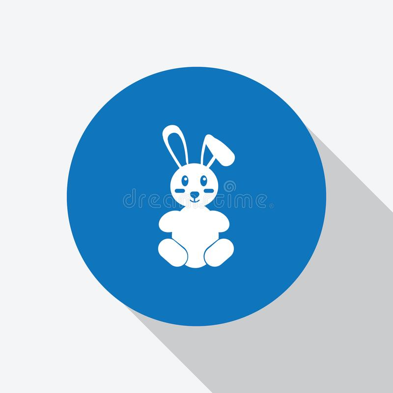 Λευκό μωρό κουνελιών κινούμενων σχεδίων στον μπλε κύκλο απεικόνιση αποθεμάτων