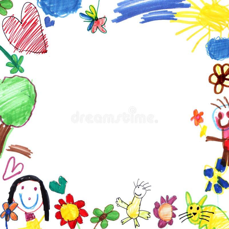 λευκό πλαισίων σχεδίων παιδιών ελεύθερη απεικόνιση δικαιώματος