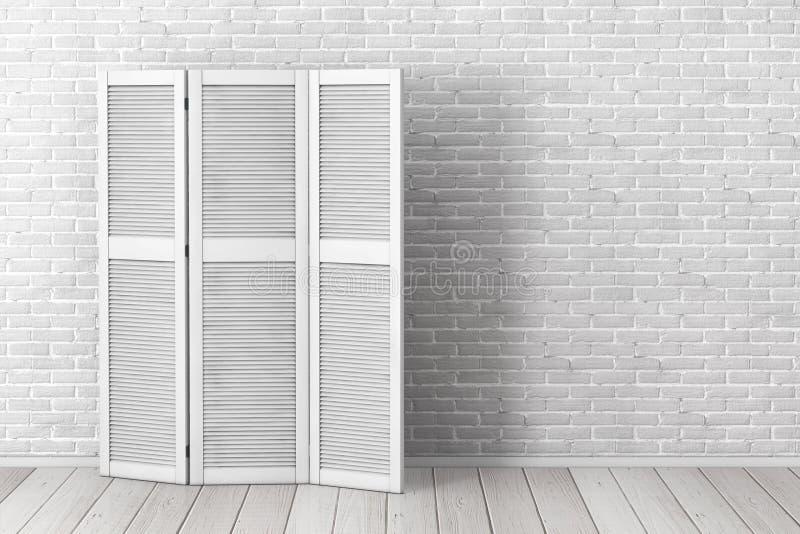 Λευκό που διπλώνει την ξύλινη οθόνη φορεμάτων μπροστά από το τουβλότοιχο r απεικόνιση αποθεμάτων