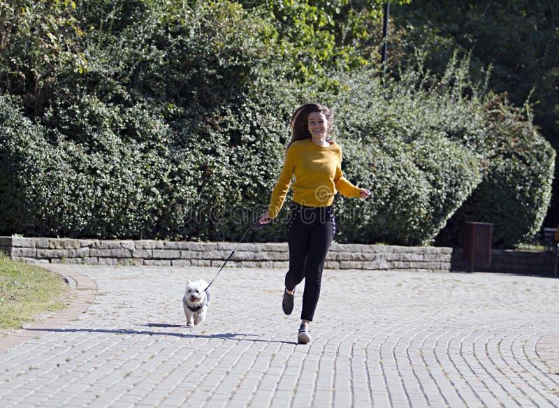 Λευκό σκυλί και ένα όμορφο κορίτσι που τρέχει στο πάρκο στοκ εικόνες με δικαίωμα ελεύθερης χρήσης