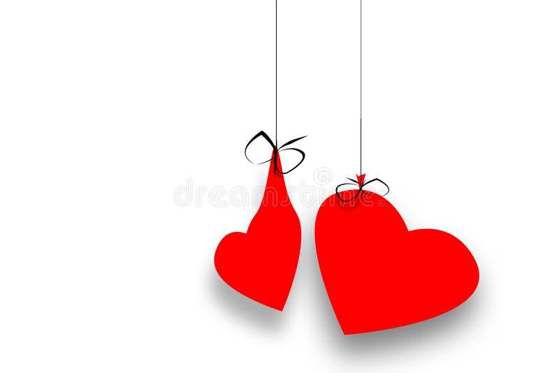 λευκό συμβολοσειρών καρδιών διανυσματική απεικόνιση
