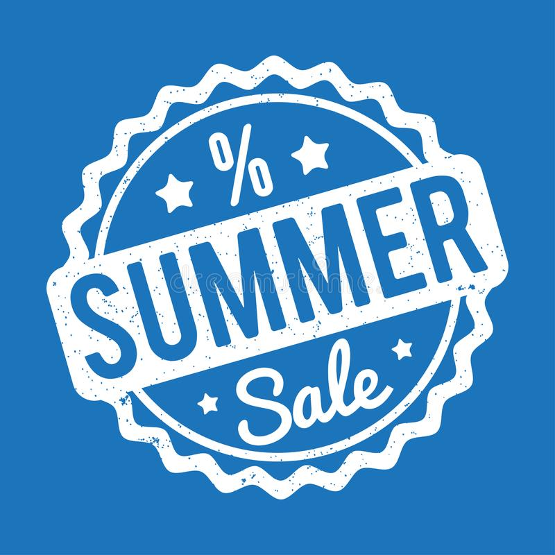 Λευκό σφραγιδών θερινής πώλησης σε ένα μπλε υπόβαθρο απεικόνιση αποθεμάτων