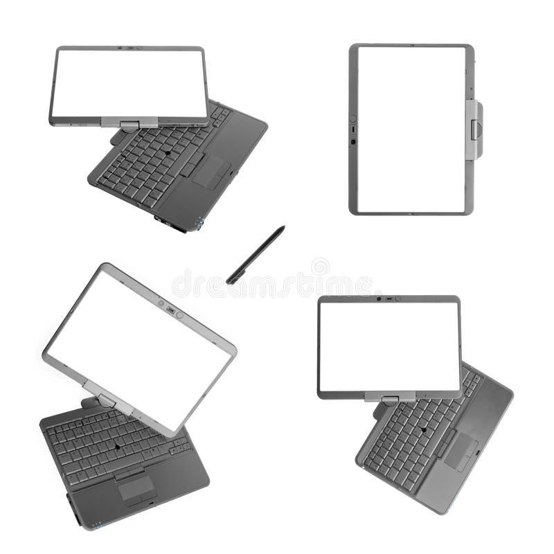 λευκό ταμπλετών PC lap-top ανασκό&pi στοκ εικόνα