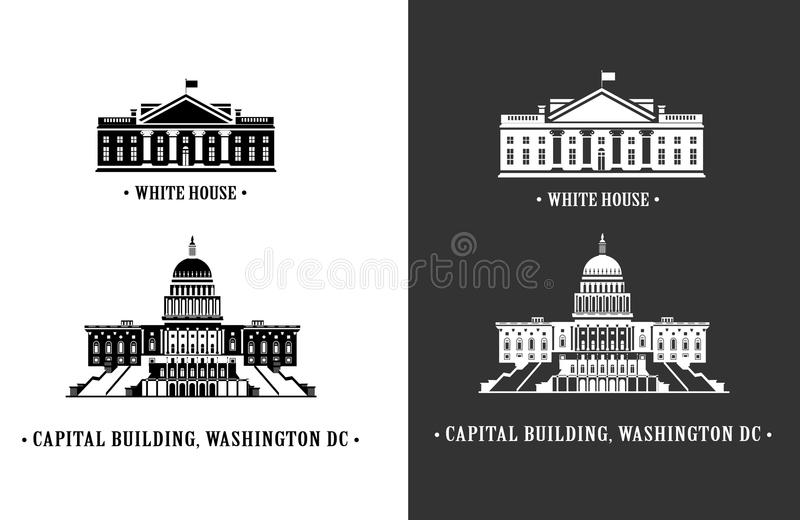 λευκό της Ουάσιγκτον σπιτιών capitol οικοδόμησης διανυσματική απεικόνιση