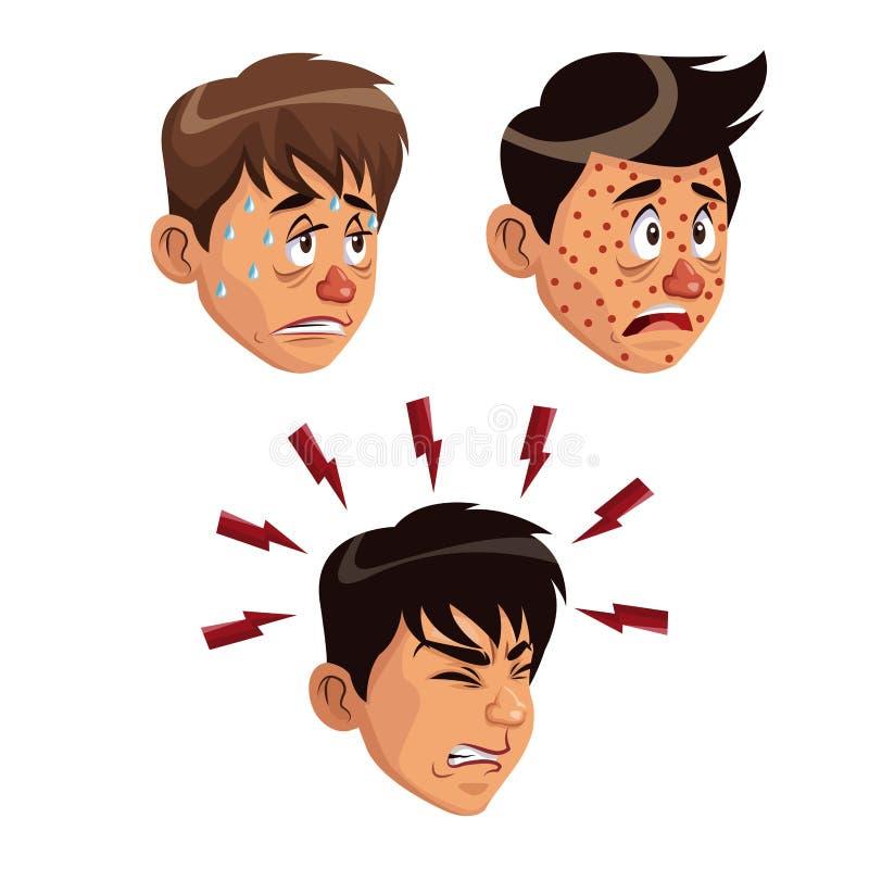 Λευκό υποβάθρου καθορισμένο αρσενικό ανθρώπων συμπτωμάτων ασθένειας προσώπων διάφορο ελεύθερη απεικόνιση δικαιώματος