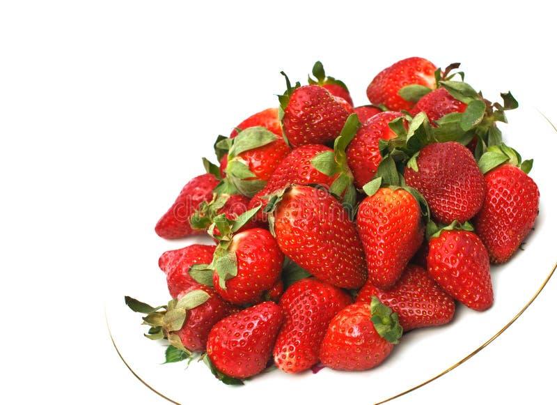 λευκό φραουλών ανασκόπη&sig στοκ εικόνα