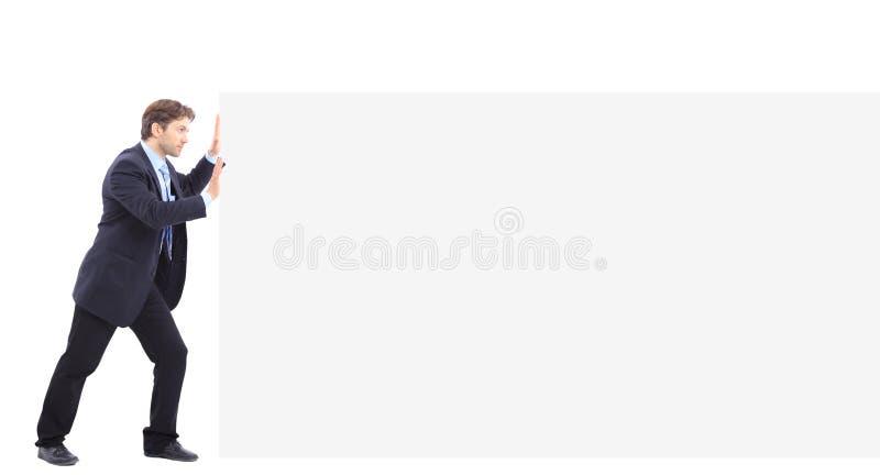 λευκό ώθησης ατόμων εμβλη στοκ φωτογραφία με δικαίωμα ελεύθερης χρήσης